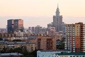 Městské panorama s pink sunset — Stock fotografie