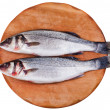 Two raw seabass on wooden board — Stock Photo