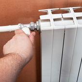Thermostat of home heat radiator — Stock Photo