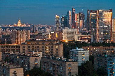 Blue twilight over Moscow city