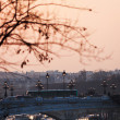 View of pont alexandre iii in Paris on sunset — Stock Photo