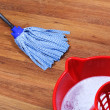Stock Photo: Mopping of wooden floors