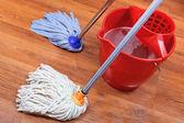 Washing of wood floors — Stock Photo