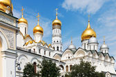 Golden domes of Moscow Kremlin Cathedrals — Stock Photo
