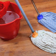 Stock Photo: Cleaning of wet floors by two mops