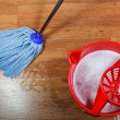 Stock Photo: Cleaning of wooden floors