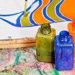 Painting and bottles with dyes — Stock Photo