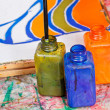 Color bottles with dyes — 图库照片