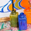 Color bottles with dyes — Zdjęcie stockowe