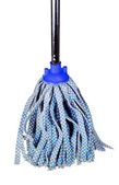 Old blue fabric mop isolated on white — Stock Photo