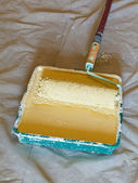 Roller brush with handle in plastic paint tray — Stock Photo