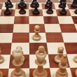 First move pawn on chessboard — Stock Photo