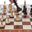 Black king hits white king in chess game — Stock Photo #29689197