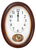 Midnight on oval wall clock — Stock Photo
