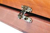 Open metal lock of wooden box — Stock Photo