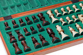 Set of chess pieces packed in box — Stock Photo