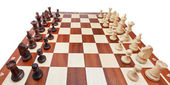 Chess pieces placed on board — 图库照片