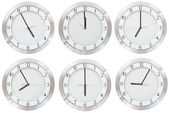 Set of wall clock with working time — Stock Photo