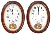 Twelve o clock on oval dial clock — Stock Photo