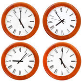 Set of wooden round wall clock face — Stock Photo