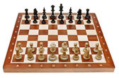 Chess pieces placed on chessboard — Stock Photo