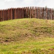 Stock Photo: Wall from wooden stakes on rampart