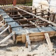 wooden formwork concrete foundation — Stock Photo