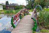 Bridge of lovers and luck horseshoe — Stock Photo