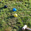Stock Photo: Game of croquet on green lawn