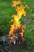 языки пламени на мангале — Стоковое фото