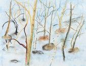 деревья в талой весенней патчи — Стоковое фото