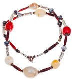 Necklace of lagate, red coral, carved horn, bone — Stock Photo