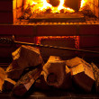 Stock Photo: Fire in fireplace
