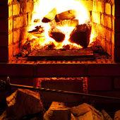 огонь в камине — Стоковое фото