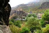 View of geghard monastery from cliff in Armenia — Stock Photo