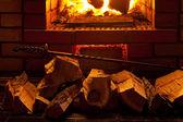 Fire in fireplace — Stockfoto