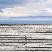 Holzboden auf ufer des toten meeres — Stockfoto