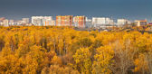 Urban panorama with autumn park — Stok fotoğraf