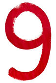 En chiffre arabe rouge 9 écrit à la main — Photo