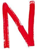 Mão n carta, pintada por pincel vermelho — Foto Stock