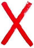 Letra x pintado a mano por cepillo rojo — Foto de Stock