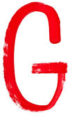 Letra g pintado a mano por cepillo rojo — Foto de Stock