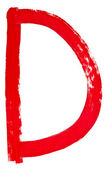 Letter d hand painted by red brush — Stock Photo