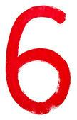 Rote arabische ziffer 6, die von hand geschrieben — Stockfoto