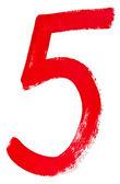 Rouge chiffre arabe 5 écrit à la main — Photo