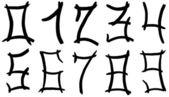Arabic numerals hand written by black ink — Stock Photo