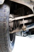 Inspection of car suspension — Stock Photo