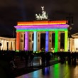 Brandenburg gate anf festival of lights in Berlin — Stock Photo