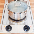 Stock Photo: Boiling water in metal pot on hotplate