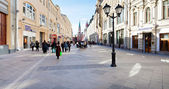 Panorama of renovated Nikolskaya street in Moscow — Stock Photo